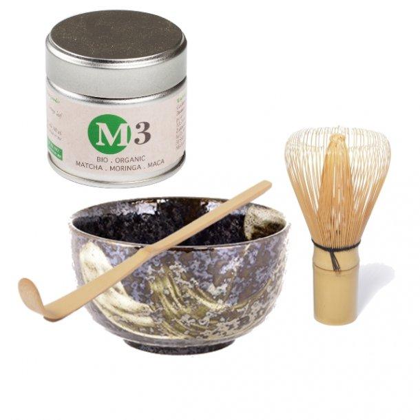 Matcha-sett med M3 Matcha Moringa Maca og matchabolle Hikaru - PureTea™